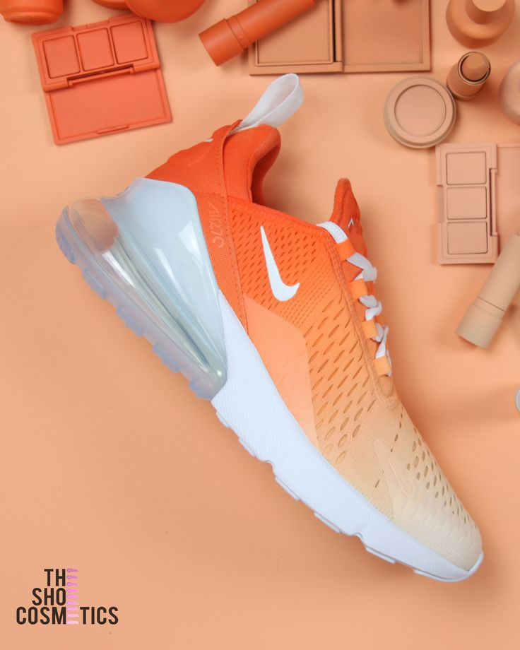 Orange ombre nike air max 270's custom shoes