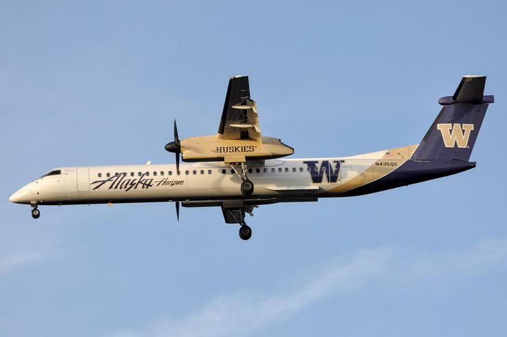 "Horizon Air ""Washington Huskies"" DHC-8 402 on final approach to SAN on February 9, 2014."