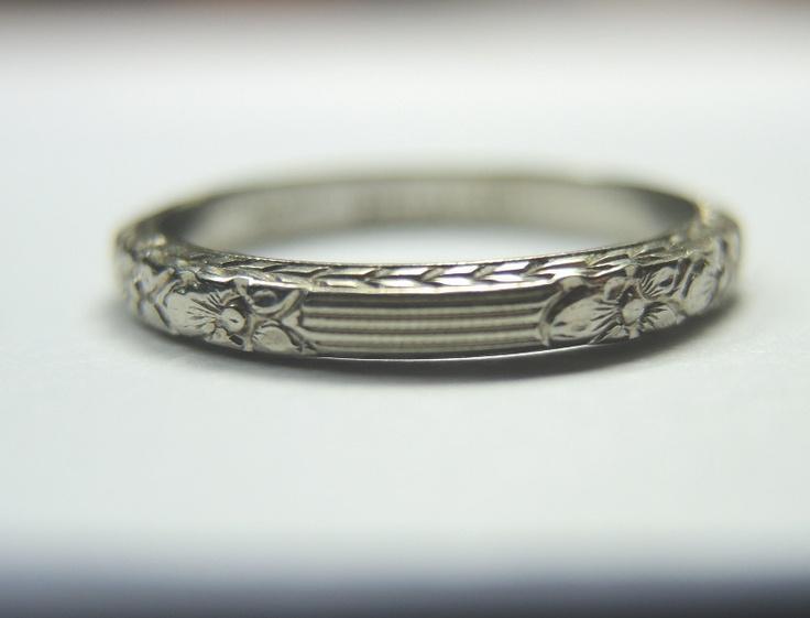 Antique Barth Belais 18K Wedding Band Ring Engraved Vintage SZ 5 5 UK K1 2 Rare   eBay