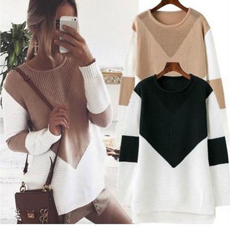 Women Long Sleeve Sweater Blouse Ladies Sweatshirt Dress Jumper Pullover Tops Lp