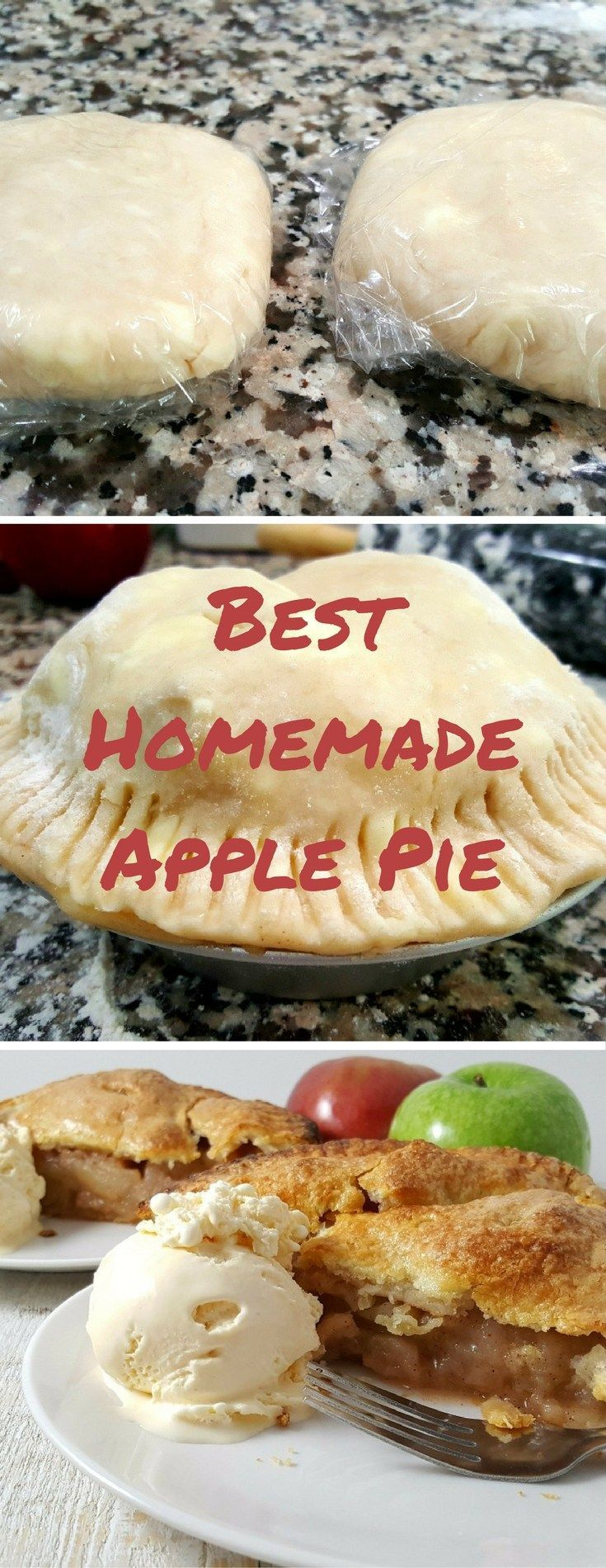 Best Homemade Apple Pie, has an easy, no-fail, buttery, flaky homemade pie crust and filled with two types of apples and the perfect mix of spices. This recipe serves 2 and makes one 6 inch apple pie. To make a 9 inch pie, adjust the serving to 2 on the recipe card. #bestrecipe #homemade #applepie #apple #pie #recipefortwo #dessertfortwo