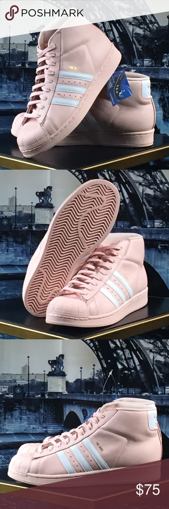 Adidas Pro Model BRAND NEW!!! Adidas Pro Model Youth size 6/Women's size 7.5. Hi top leather design. Pink with white stripes. Removable insoles. Brand new with tags. Box not included. Adidas Shoes Sneakers