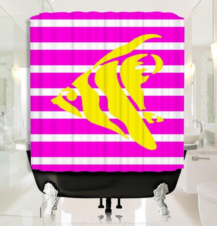 Pink Stripe Sea Fish Shower Curtain