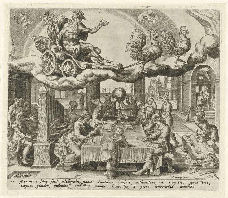 De planeet Mercurius en zijn kinderen, Harmen Jansz Muller, Hieronymus Cock, 1566 - 1570