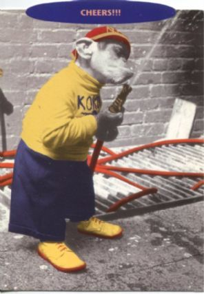 Snif Postcard, Cheers, Chimpanzee with fire hose