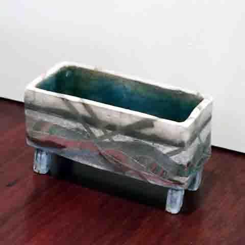 Yvonne Kitchener Box Raku fired, on legs - hand painted.