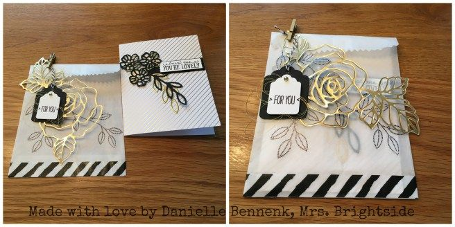 Card with Rose Garden thinlits and You're so lovely project kit, with compatible gift bag.