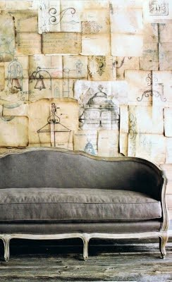 wall paper paper: Old Paper, Books Pages, Grey Couch, Sketch, Vintage Paper, Idea, Wall Treatments, Paper Wall, Grey Sofas