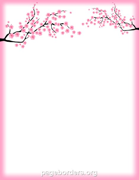 Printable cherry blossom border. Free GIF, JPG, PDF, and PNG downloads at http://pageborders.org/download/cherry-blossom-border/