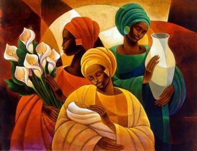 """""""Caress"""" by Keith Mallett is a giclee on canvas fine art print."""