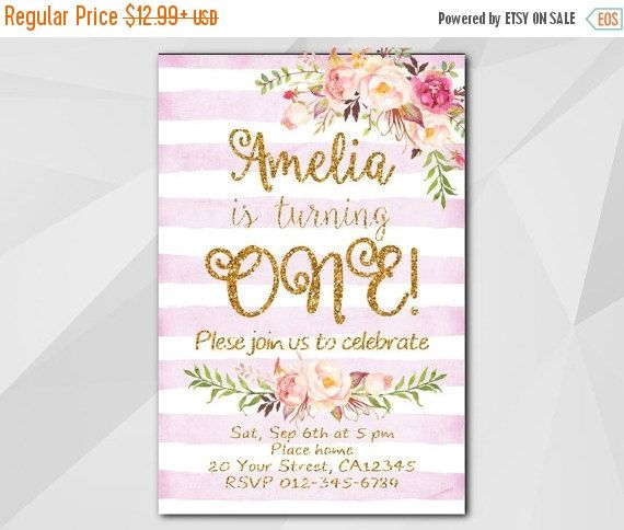 1st Watercolor Fuchsia Stripe/Gold Birthday Invitation by Digi Invites https://www.etsy.com/shop/DigiInvites/       **Text can be changed for any occasion  **This listing is for a customized printable invitation in digital format - I customize it - You print it!  **File Type: High Resolution 300 DPI - JPG or PDF – 4x6 or 5x7   **All wording can be changed and added   **No printed materials will be shipped. - Files are delivered electronically through Etsy convo or email.  **NON-editable file…
