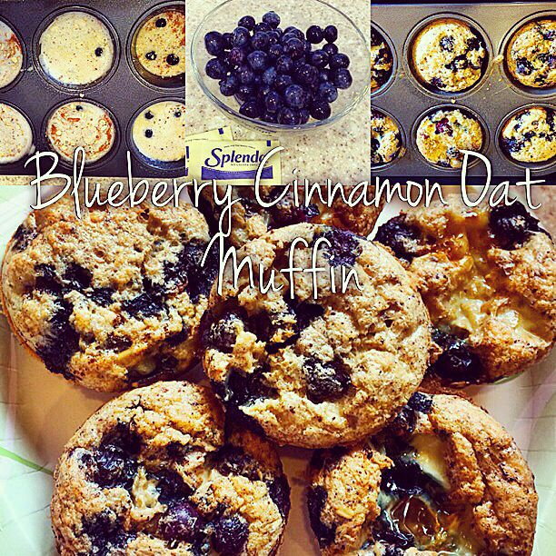 Blueberry cinnamon oat muffin 4 egg whites 1/4 cup oatmeal Sprinkle of cinnamon Blueberries Blend together, pour in muffin pan  & bake on 375 for 20 min.  Top it off with warm, blended,  blueberries and Splenda