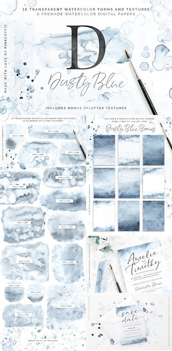 Dusty Blue Watercolor Textures Kit Watercolor Kit Watercolor