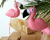 Two flamingo ornaments.A pair of Christmas flamingos.Pink flamingo ornaments.From Cyprus with Love