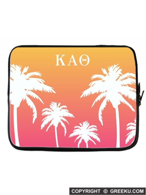 Sorority Palm Trees Orange Laptop Cover | Free Shipping. Order for your sorority (shown in Kappa Alpha Theta)! ** Also comes in Blue/Purple, Pink and Blue. Shop now! http://www.greeku.com/sorority/merchandise/electronic-accessories/laptop-cases/palm-trees-orange-laptop-cover/