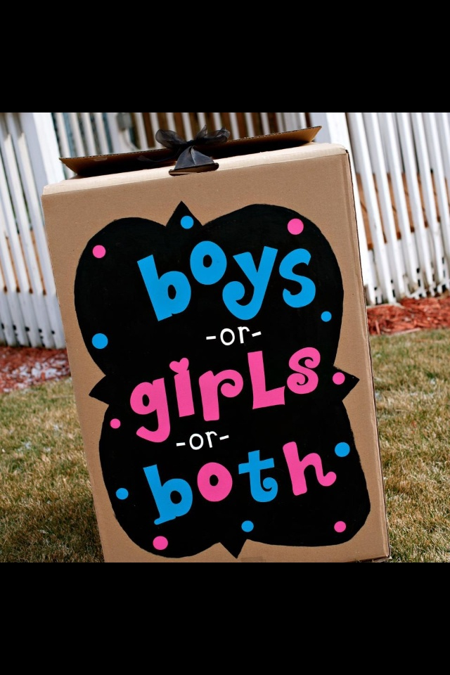 this was my girlfriend's gender reveal box for her twins... I love how she decorated the box & I love the bow idea for securing it closed!