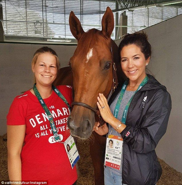 Mary kept it causal as she visited Denmark's equestrian team in Rio, dressed in light blue...
