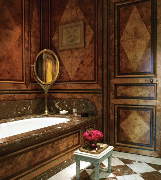 Anne McNally Paris home's bathroom by Jacques Garcia.