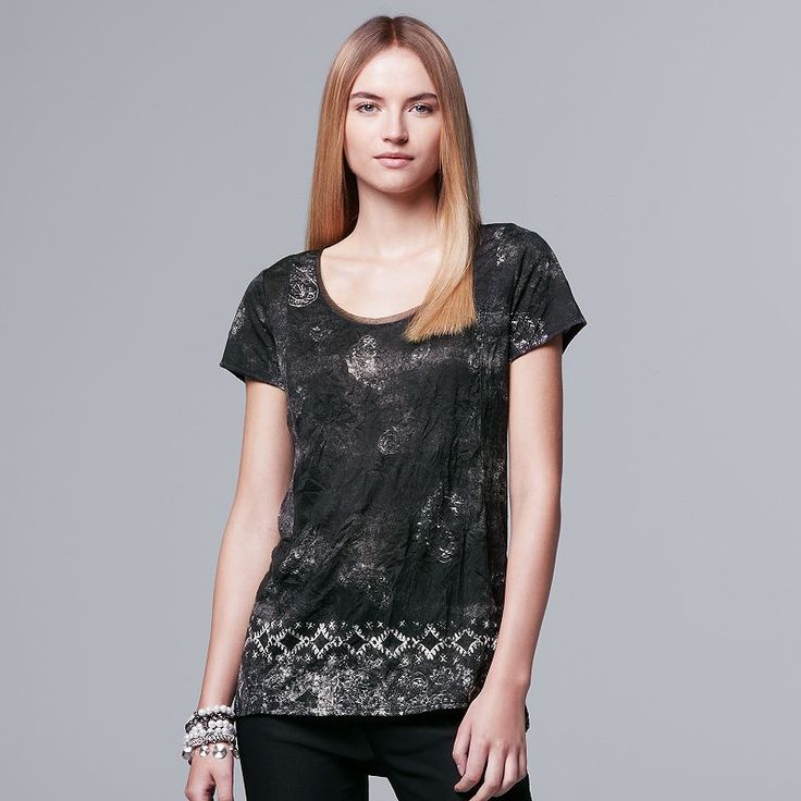 Women's Simply Vera Vera Wang Crinkle Tee, Size: Medium, Black