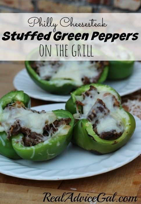 Grilled Philly Cheesesteak stuffed peppers recipe, ready to eat yum