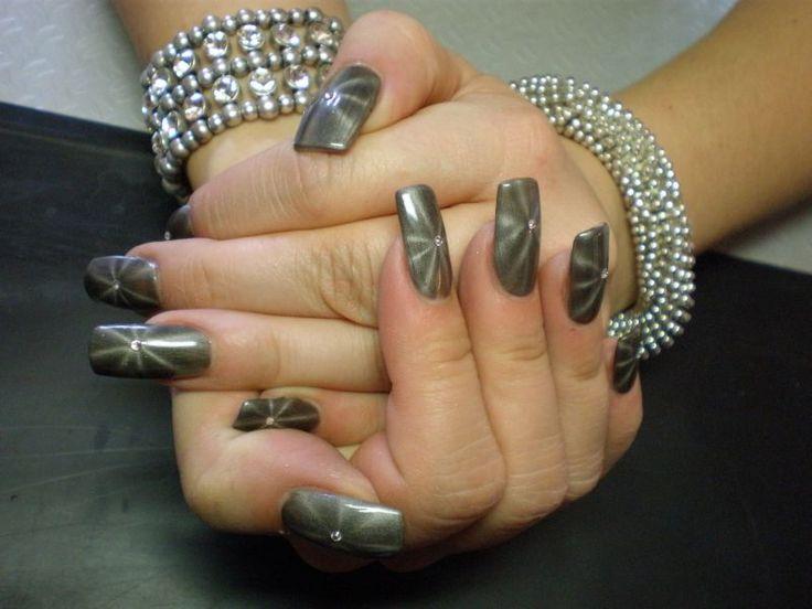 Nail Art Magnet Gel Stern Grau