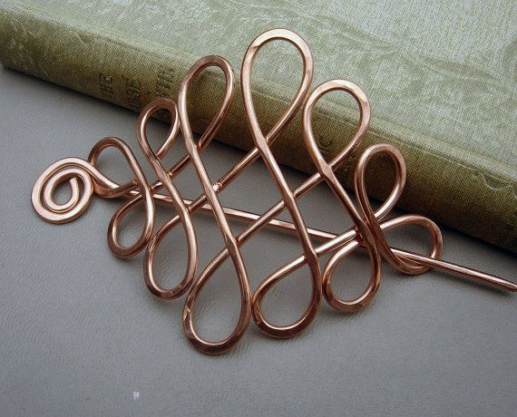 Looping Cross Knots copper hair pin & barrette - hammered copper wire  #handmade #jewelry #wire_wrapping