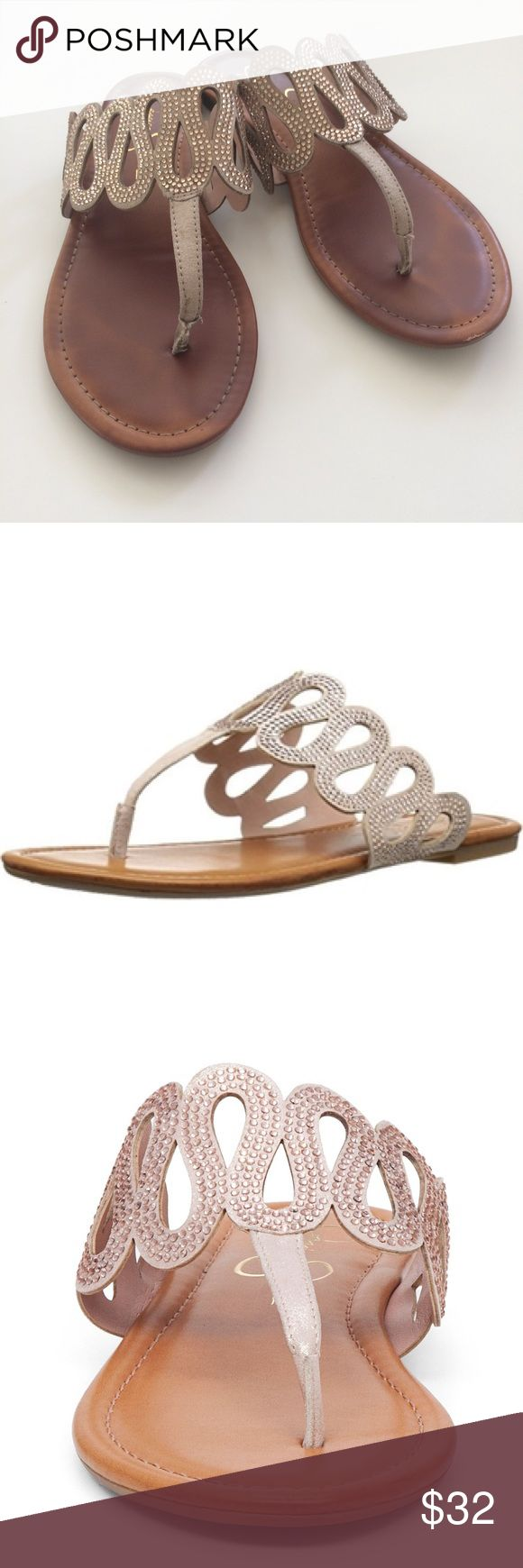 """‼️LOWEST‼️Jessica Simpson   Roldan Sandal {6.5} Purchased last summer and worn twice for wedding festivities. Size 6.5, true to size. Color is """"Natural"""", stones appear a light gold color. I do not notice any missing stones, and the shoes are in great, gently worn condition! Lots and lots of life left to these! I would keep them, but I truly don't wear them frequently enough. The first 2 photos are stock photos from the Jessica Simpson site. 💓 {NO trades, price firm} Jessica Simpson Shoes…"""