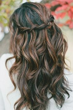 Braided Brunette Highlighted Long Black Wavy Hairstyle