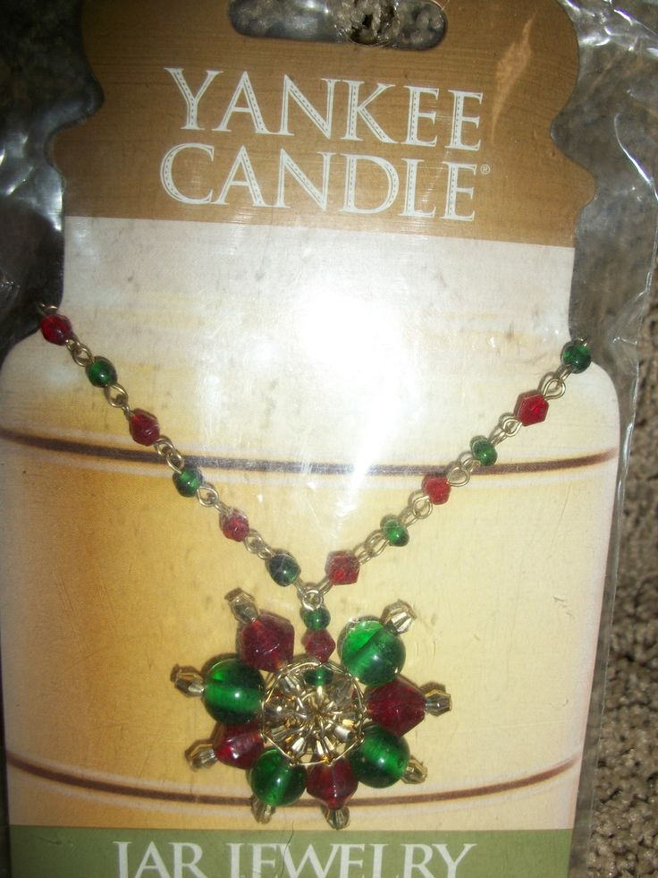 New Yankee Candle Jar Jewelry Beads Medallion Red