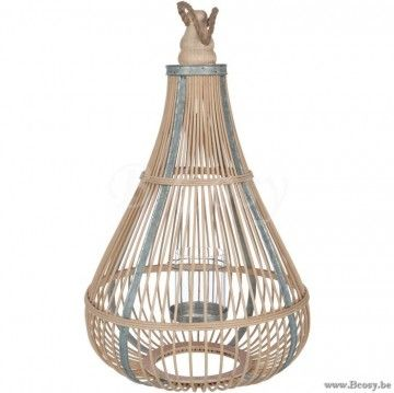 J-Line Lantaarn Druppelvorm met bamboe Spijlen en Handvat en met glas 55H Jline-by-Jolipa-72017