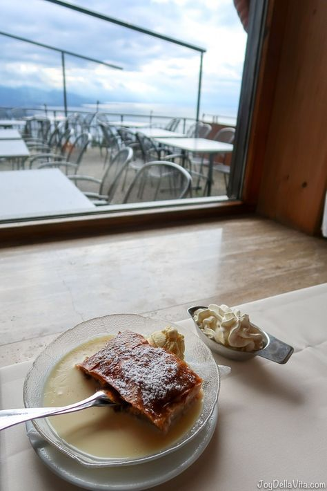 Apfelstrudel with a view in Vorarlberg, Austria - Apfelstrudel with vanilla sauce, vanilla ice-cream, fresh whipped cream and cappuccino - Apfelstrudel Restaurant Schönblick Eichenberg Bregenz
