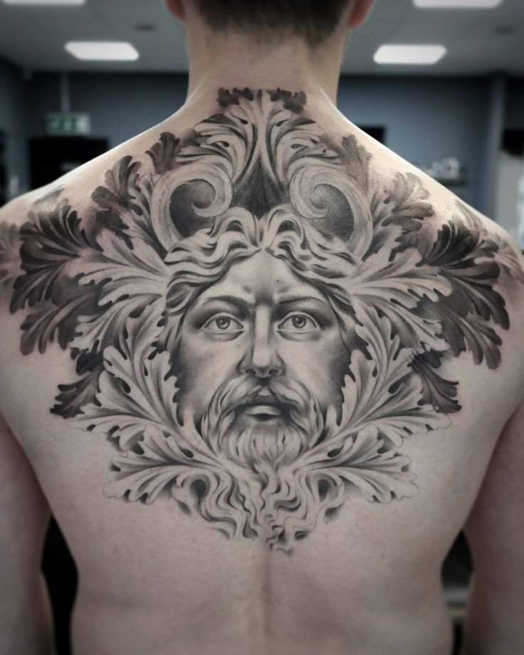Black and gray portrait with baroque style details on mans back.  Artist @janissvars  #blackandgray #blackngray #backtattoo #tattoo #blackandgraytattoo #baroque #history #art #ink