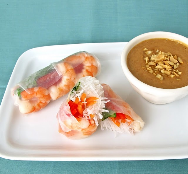 thai spring rolls with peanut dipping sauce, now i will save a million dollars instead of eating at #9 all the time