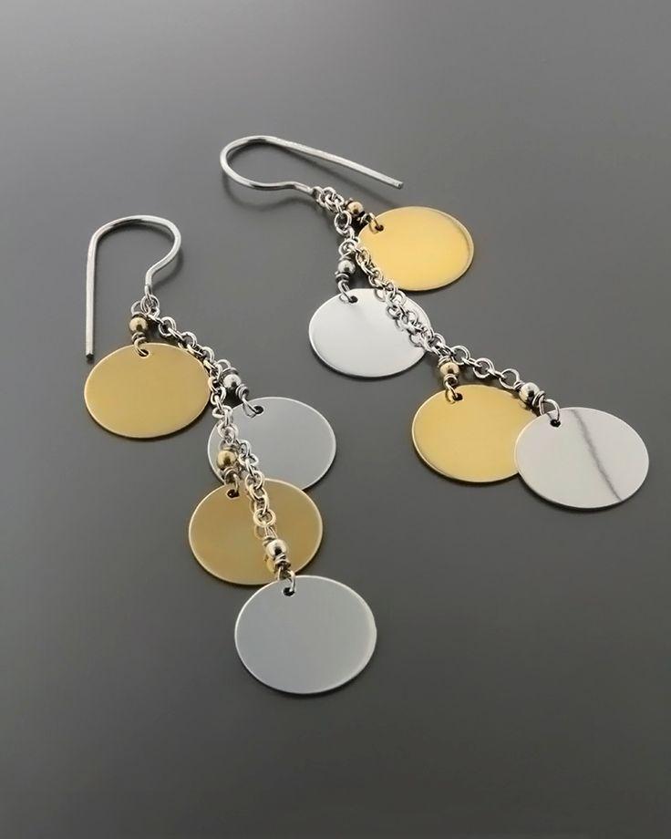 Σκουλαρίκια κρεμαστά χρυσά & λευκόχρυσα Κ14