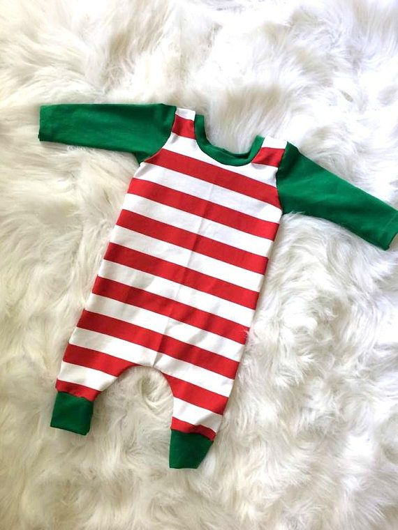 Christmas Baby Outfit candy cane stripe baby romper red
