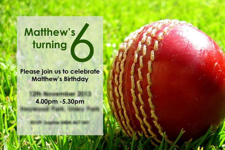 Cricket Party Birthday Invitation - 6th Birthday Party!