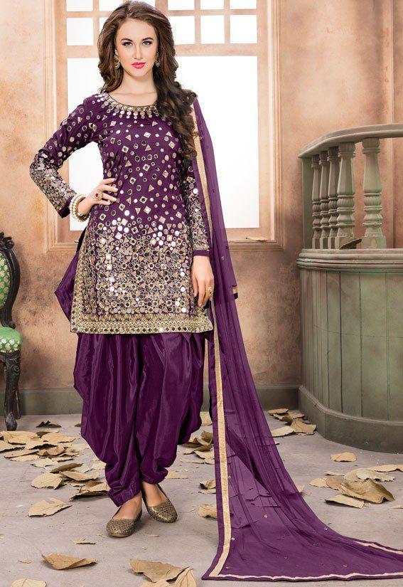 b0213a9e9e Wine Mirror Work Patiala Suit in 2019   Patiyala Kameez Suits ...