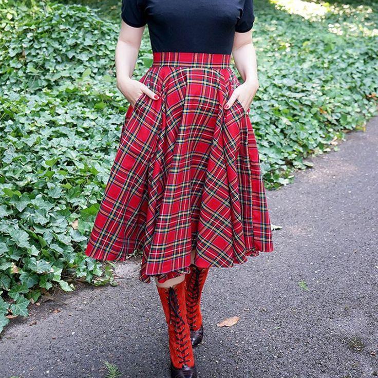 Урожай-50-s-красный-шотландка-плед-высокой-талией-рейв-розовый-качели-круг-юбка-миди-Большой-размер.jpg (750×750)