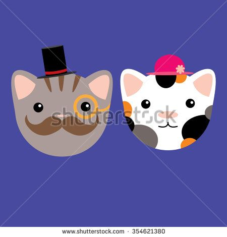 Cats gentleman and lady vector illustration - stock vector