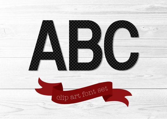 Alphabet Clip Art Font Set  Black & Gray by AnchorandSalt on Etsy