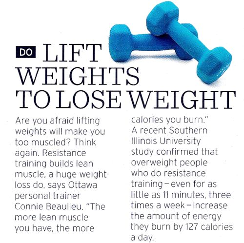 LIFT weights to LOSE weight.