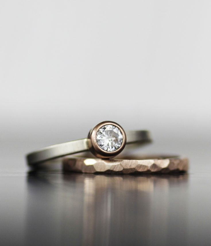 Image of rose gold moissanite wedding set