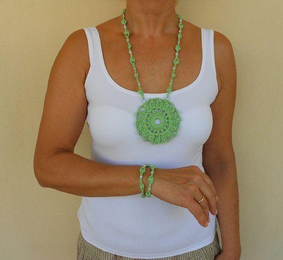 Green crochet necklace and bracelet set by PinkOliveGifts on Etsy
