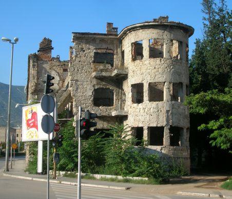 More shot up buildings Mostar