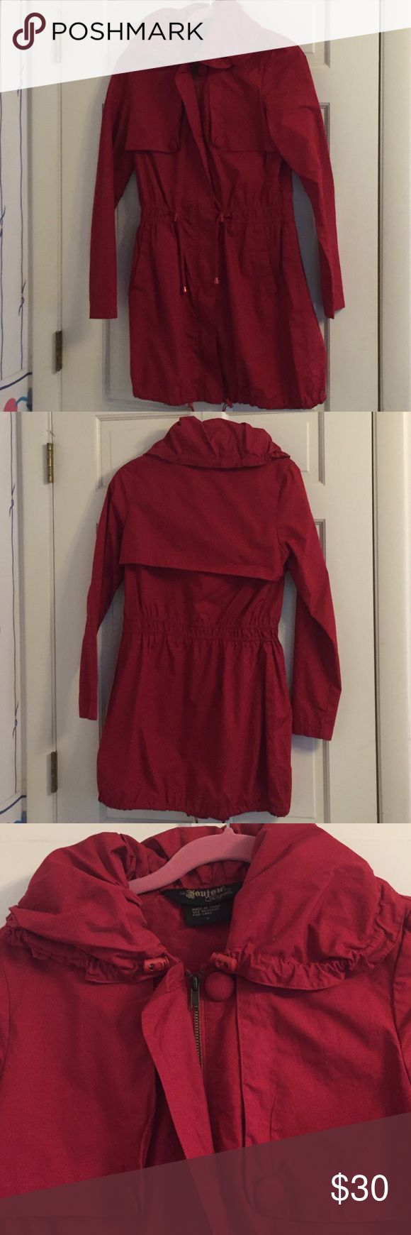 Red Lightweight Trench Coat This coat is perfect for spring or early fall. It's great to wear over pants or dresses. The drawstring waist adds a nice cinch to show off your curves ❤️ Jackets & Coats Trench Coats