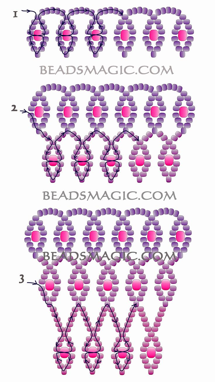Free pattern for necklace Violet Morning - 2 -----------u need seed beads 11/0 and seed beads 8/0 or round beads 3 mm.
