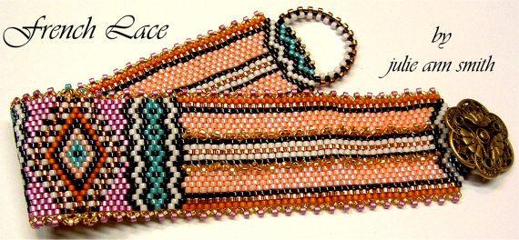 Julie Ann Smith Designs FRENCH LACE Odd Count Peyote Bracelet Pattern on Etsy, $5.00