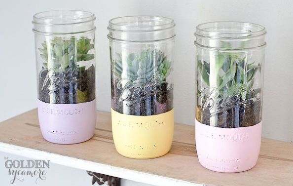 DIY:: Easy Painted Mason Jar Succulent Planters ! Perfect  Easter, Spring, Mother's Day Gifts !