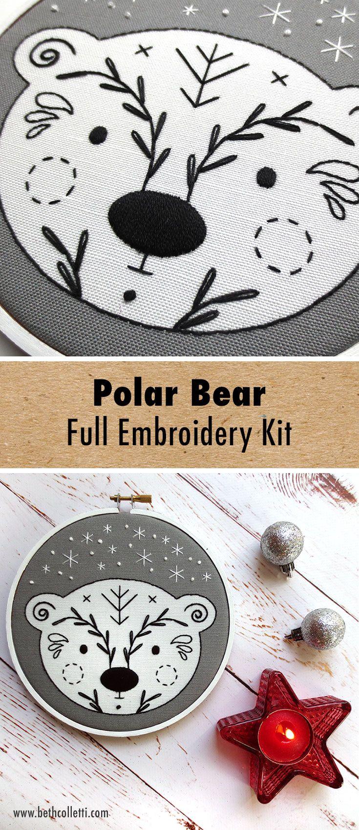 Cute Scandinavian style polar bear embroidery pattern for winter