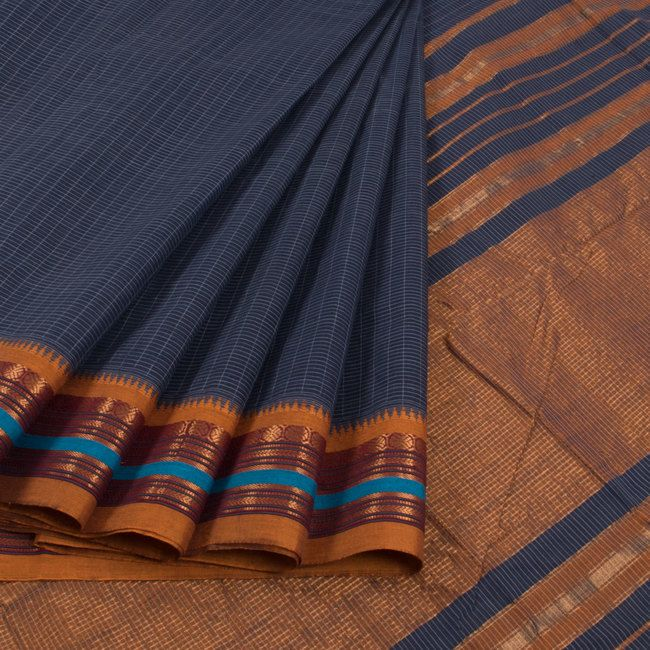Buy online Handwoven Blue Narayanpet Cotton Saree With Checks, Zari Border & Without Blouse 10013298